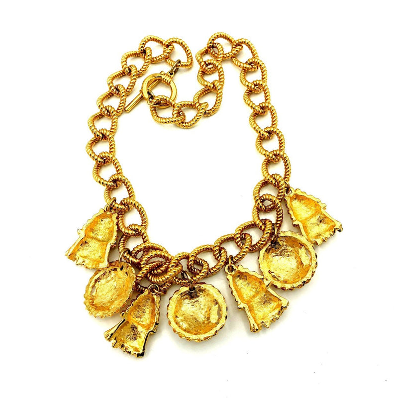 Classic Gold Chunky Chain Lion & Tassel Charm Vintage Necklace-Sustainable Fashion with Vintage Style-Trending Designer Fashion-24 Wishes