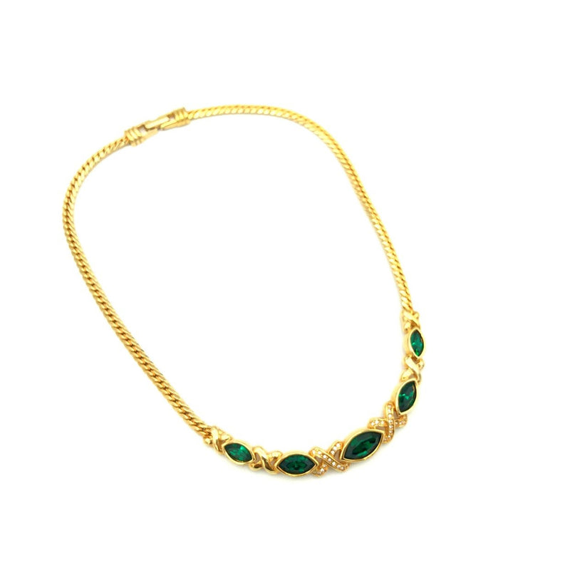 update alt-text with template Gold Swarovski Emerald Green Crystal Classic Vintage Pendant-Necklaces & Pendants-24 Wishes-[trending designer jewelry]-[swarovski jewelry]-[Sustainable Fashion]