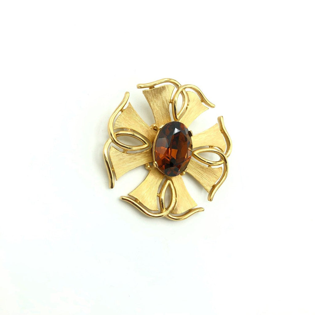 Vintage Gold Trifari Smokey Brown Topaz Brooch-Sustainable Fashion with Vintage Style-Trending Designer Fashion-24 Wishes