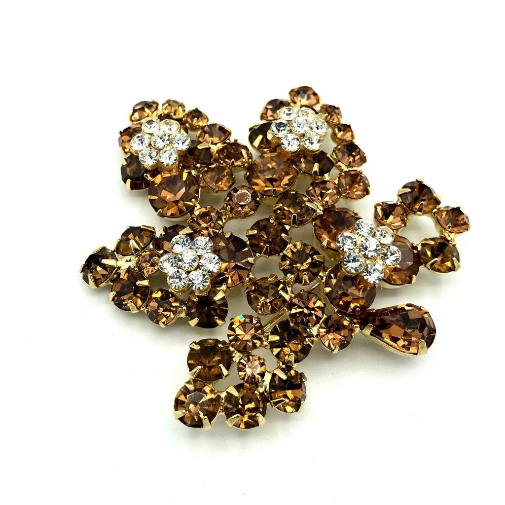Weiss Large Topaz Brown Rhinestone Leaf Vintage Brooch