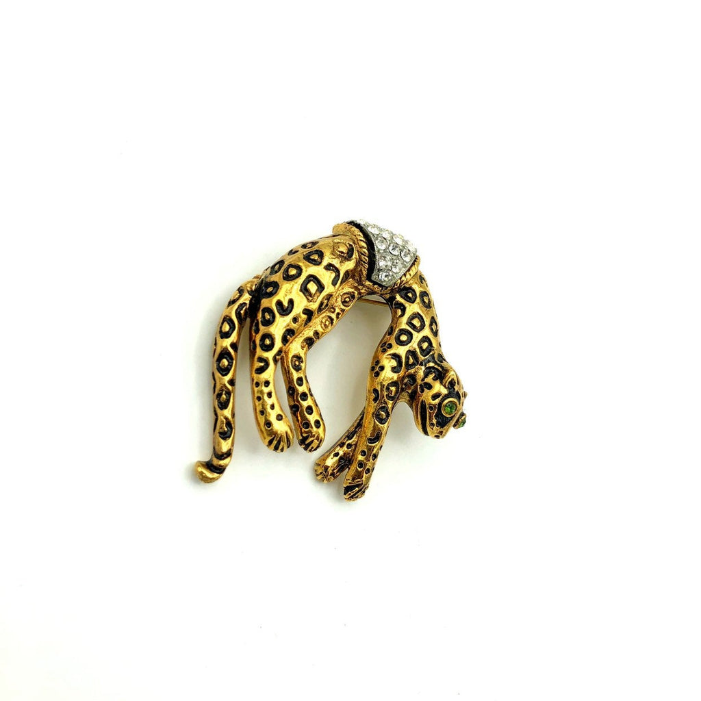 Florenza Gold Leopard With Black Enamel Spots Vintage Brooch