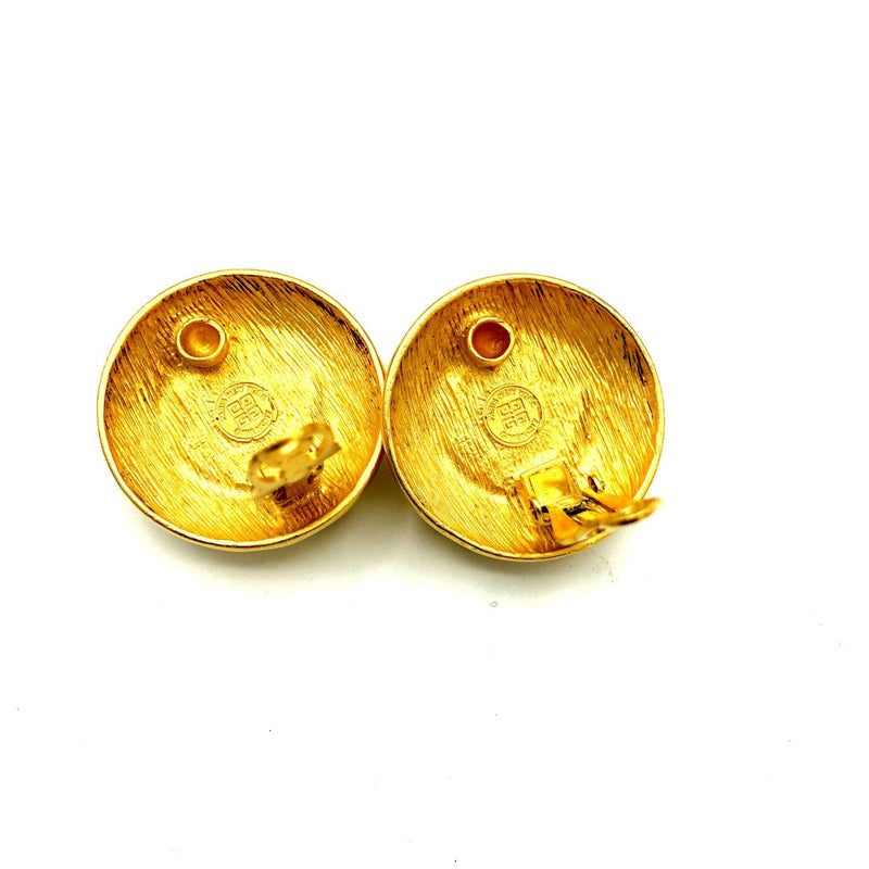Givenchy Gold & Pearl Logo Paris France Pierced Earrings-Earrings-Givenchy-[trending designer jewelry]-[givenchy jewelry]-[Sustainable Fashion]