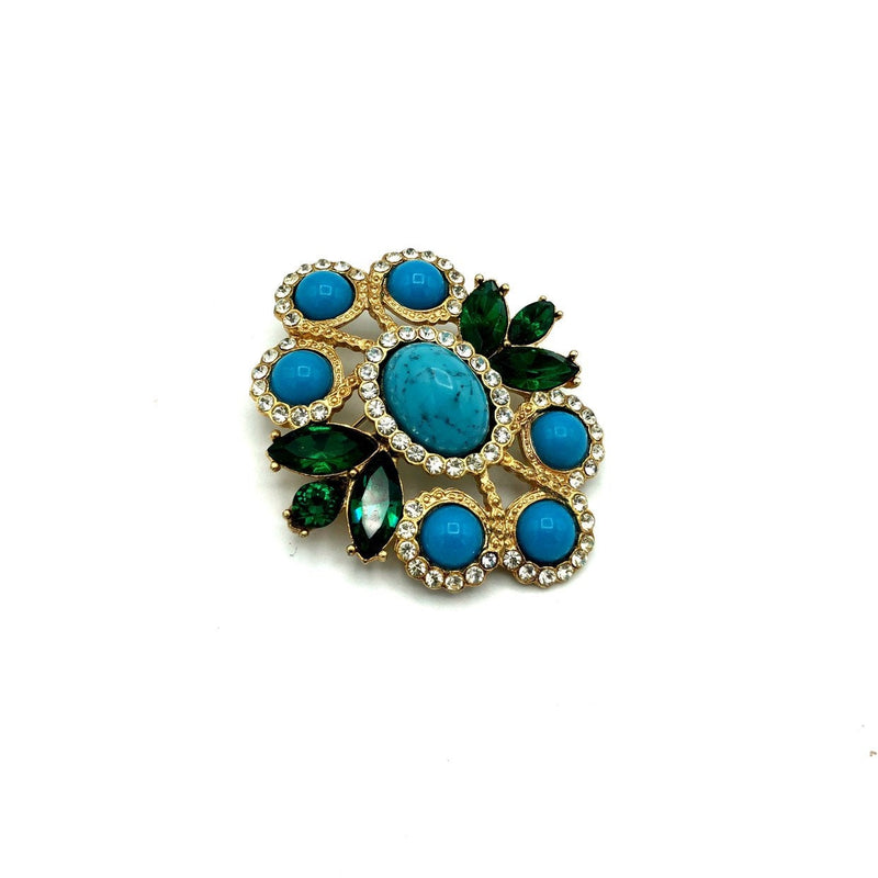 Sarah Coventry Blue Turquoise Cabochon Vintage Brooch / Pendant-Sustainable Fashion with Vintage Style-Trending Designer Fashion-24 Wishes
