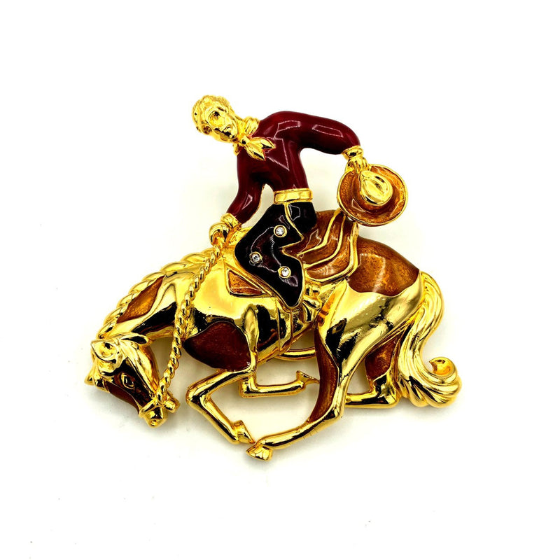 Bob Mackie Enamel Cowboy Vintage Brooch & Scarf Ring-Sustainable Fashion with Vintage Style-Trending Designer Fashion-24 Wishes