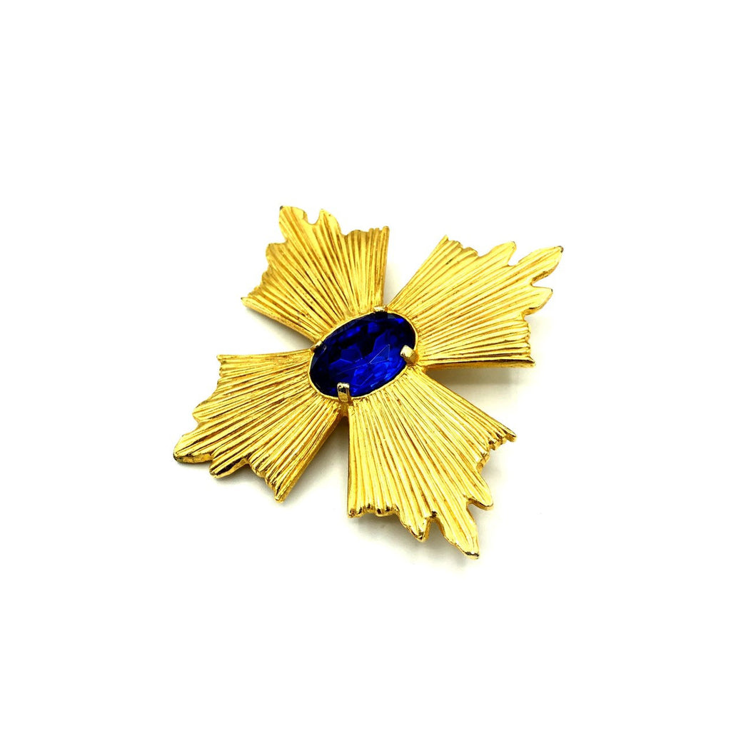 Gold Accessocraft Maltese Cross Sapphire Blue Rhinestone Brooch