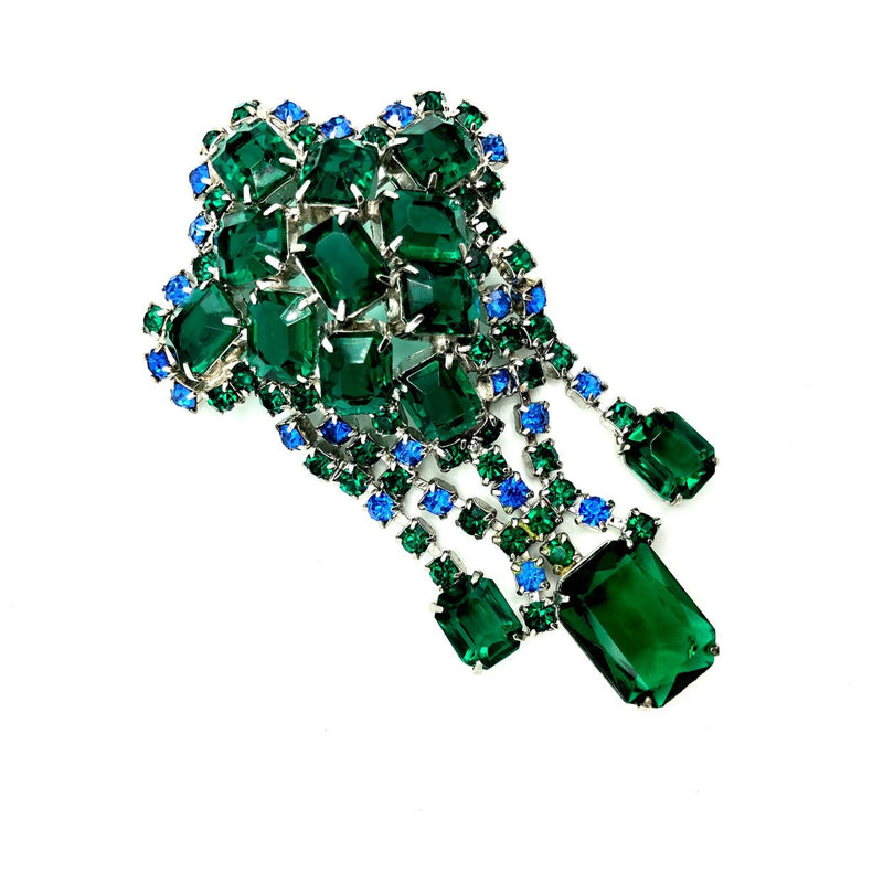 Art Deco Style Emerald Green & Blue Rhinestone Dangle Brooch-Sustainable Fashion with Vintage Style-Trending Designer Fashion-24 Wishes
