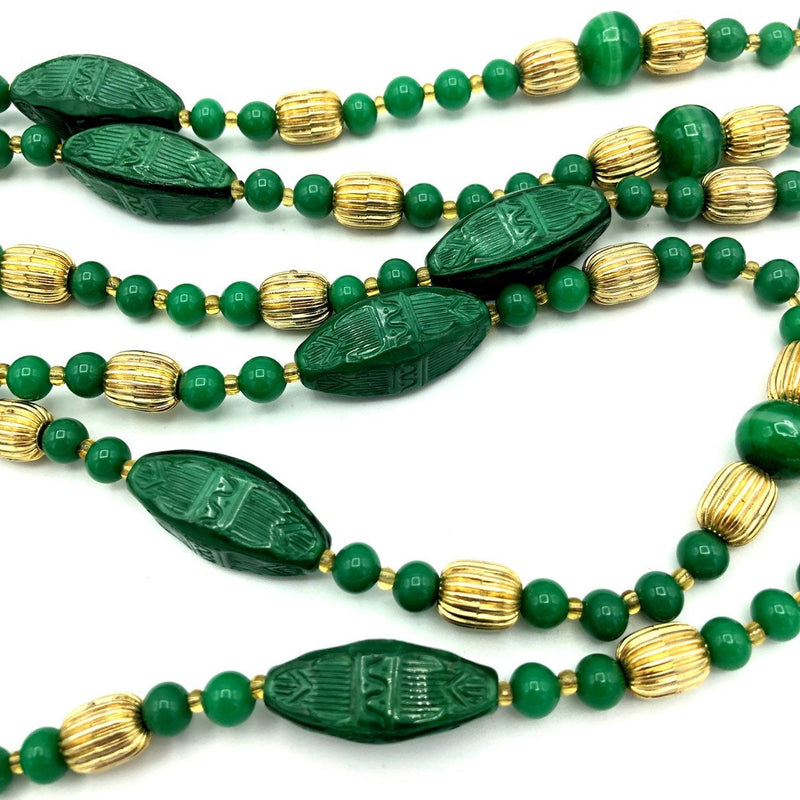 Italian Jade Green Glass Bead Long Layering Necklace By Bozart-Necklaces & Pendants-24 Wishes