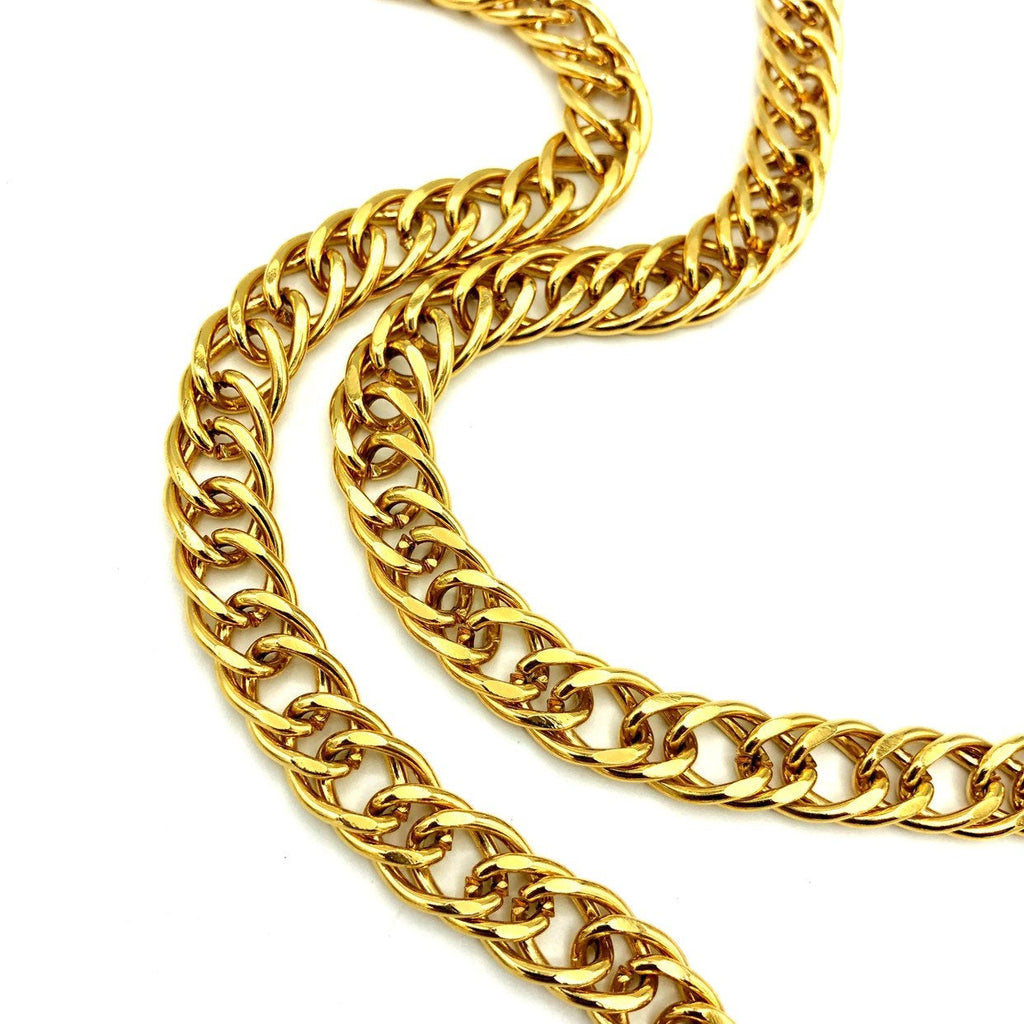 Kenneth Jay Lane Classic Gold Double Curb Long Chain Necklace-Sustainable Fashion with Vintage Style-Trending Designer Fashion-24 Wishes