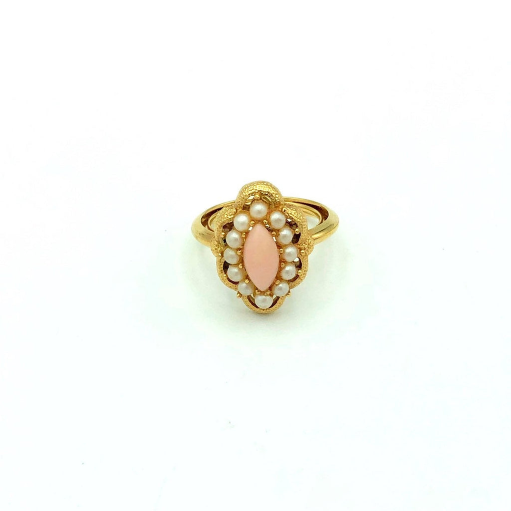 Avon Coral & Pearl Victorian Inspired Vintage Cocktail Ring