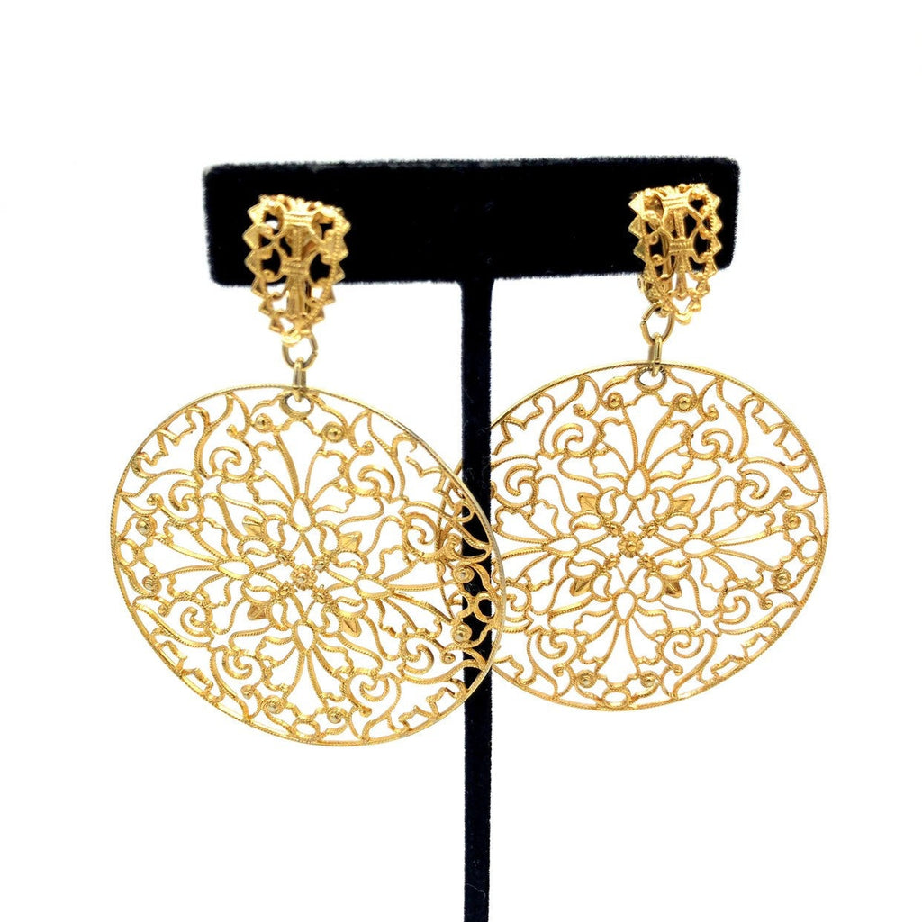 Napier Gold Circle Floral Filigree Style Vintage Earrings