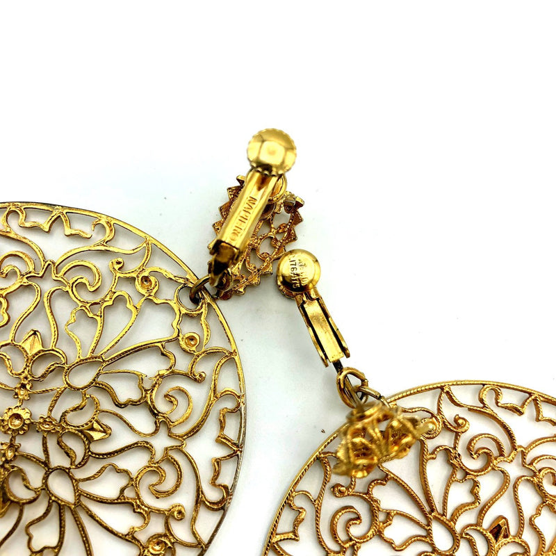 update alt-text with template Napier Gold Circle Floral Filigree Style Vintage Earrings-Earrings-24 Wishes-[trending designer jewelry]-[napier jewelry]-[Sustainable Fashion]