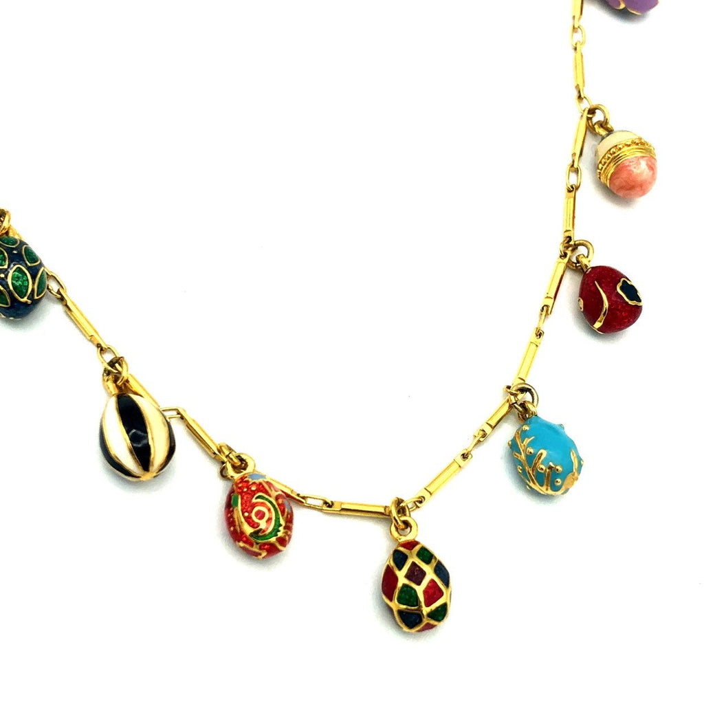 update alt-text with template Joan Rivers Miniature Enamel Faberge Egg Charms Vintage Pendant-Necklaces & Pendants-Joan Rivers-[trending designer jewelry]-[joan rivers jewelry]-[Sustainable Fashion]