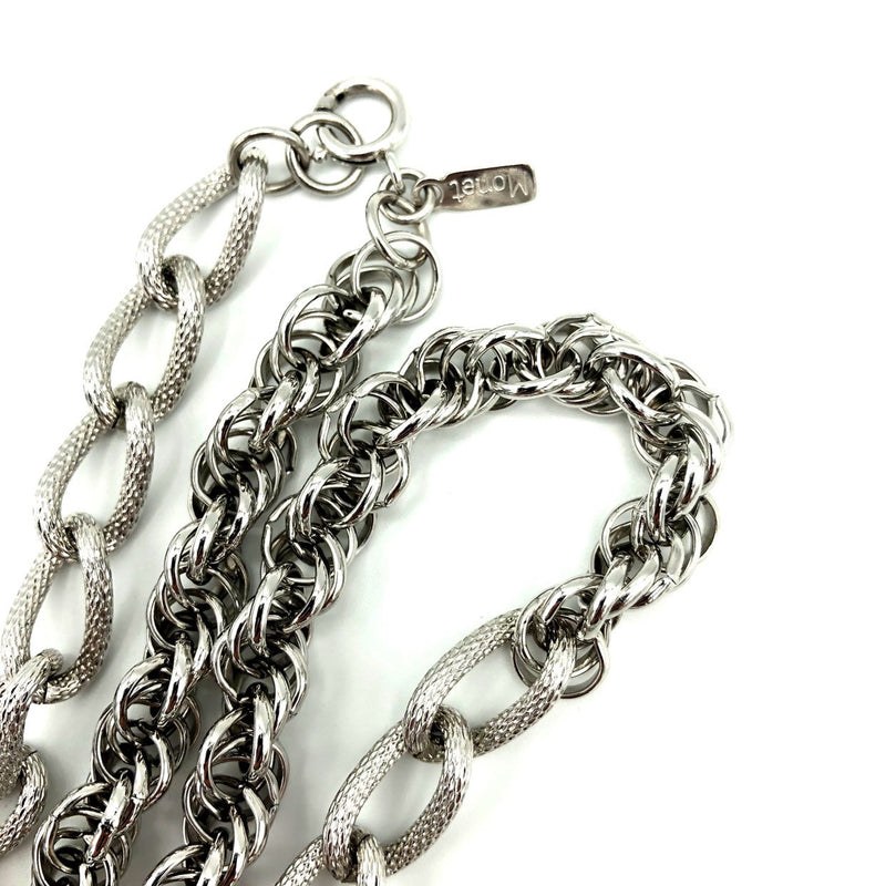 update alt-text with template Silver Monet Layered Long Multi-Strand Chain Vintage Necklace-Necklaces & Pendants-Monet-[trending designer jewelry]-[monet jewelry]-[Sustainable Fashion]