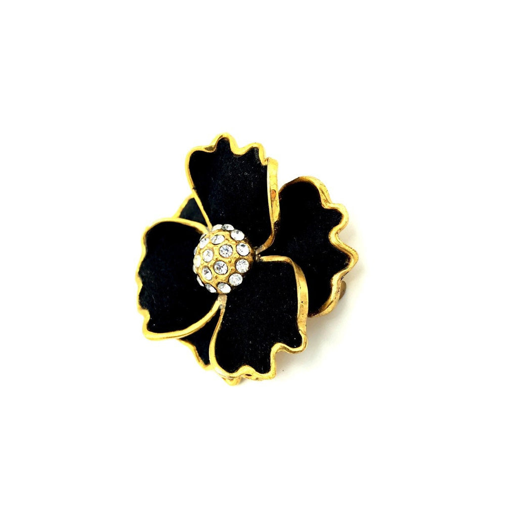 Black Flower Layered Petals Vintage Art Deco Brooch-Sustainable Fashion with Vintage Style-Trending Designer Fashion-24 Wishes