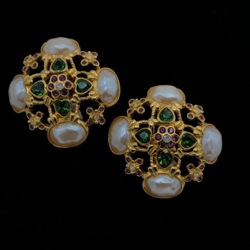 Elizabeth Taylor Faux Pearl Vintage Statement Earrings-Sustainable Fashion with Vintage Style-Trending Designer Fashion-24 Wishes