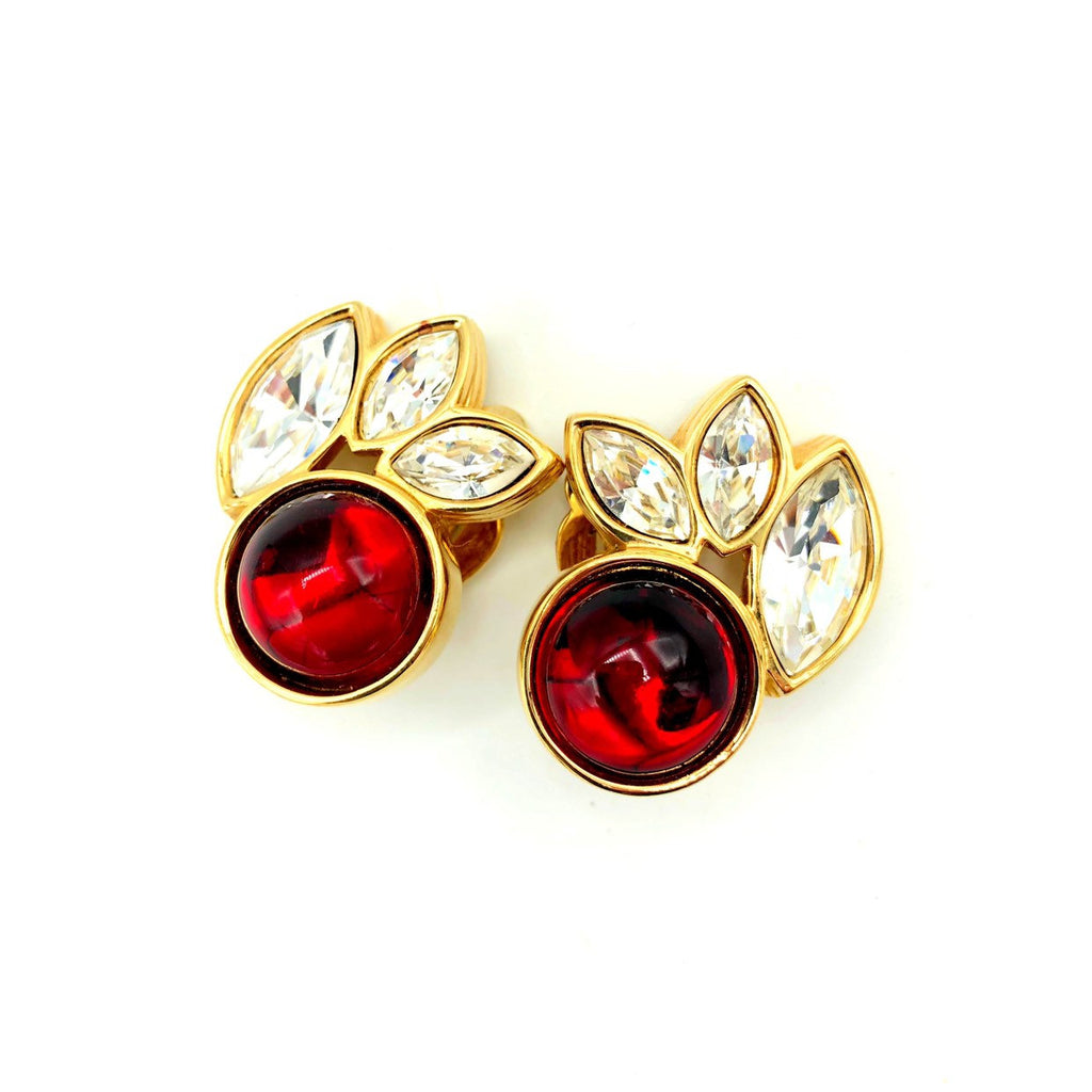 SWAROVSKI Gold Clear Marquise Crystals & Red Cabochon  Earrings