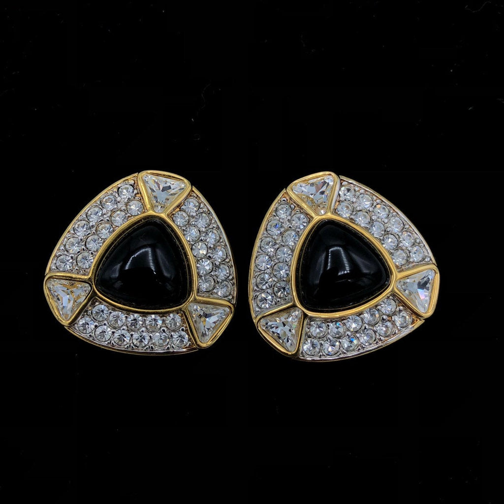 SWAROVSKI Gold Diamante & Black Cabochon Vintage Earrings