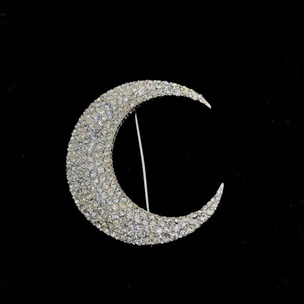 Large Vintage BSK Clear Rhinestone Paved Crescent Moon Art Deco Style Brooch