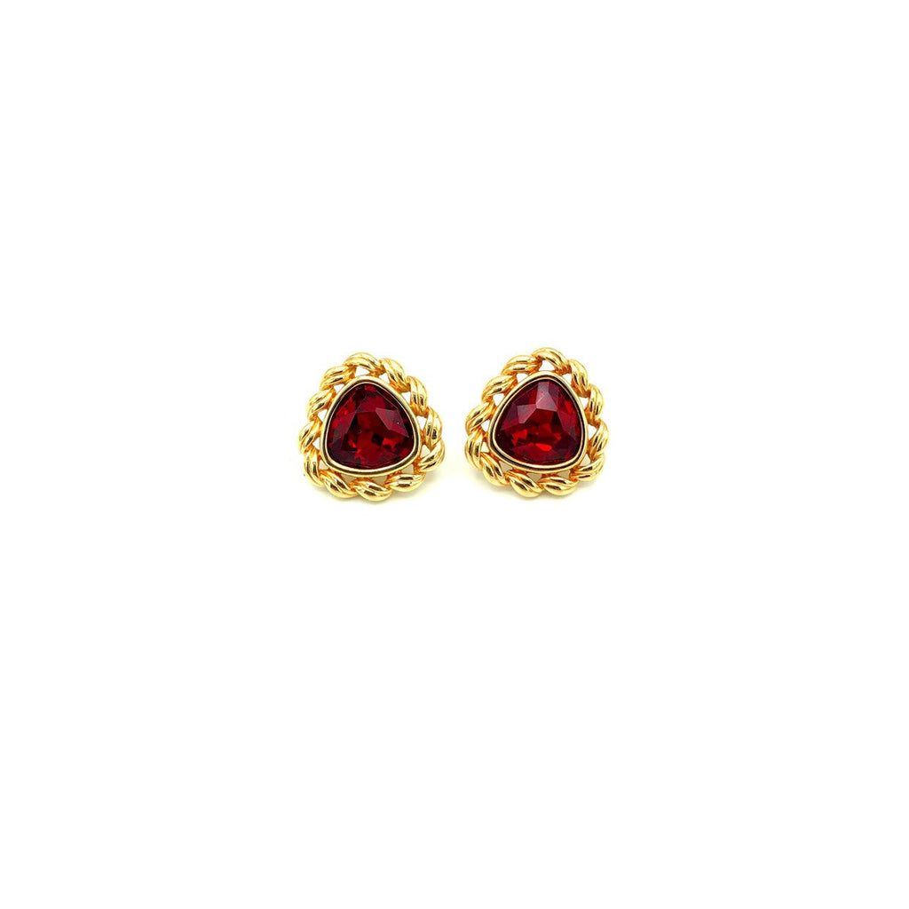 update alt-text with template Swarovski Red Triangle Gold Setting Vintage Earrings-Earrings-24 Wishes-[trending designer jewelry]-[swarovski jewelry]-[Sustainable Fashion]
