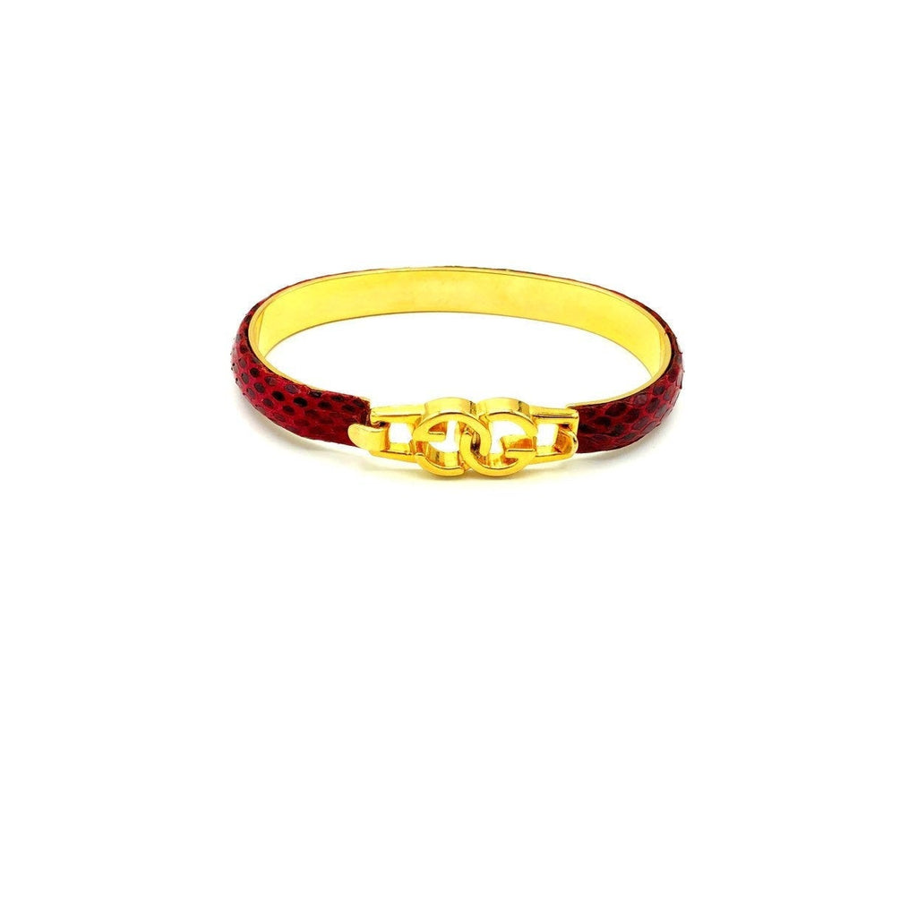Gucci Gold Vintage Red Leather GG Logo Bangle Bracelet
