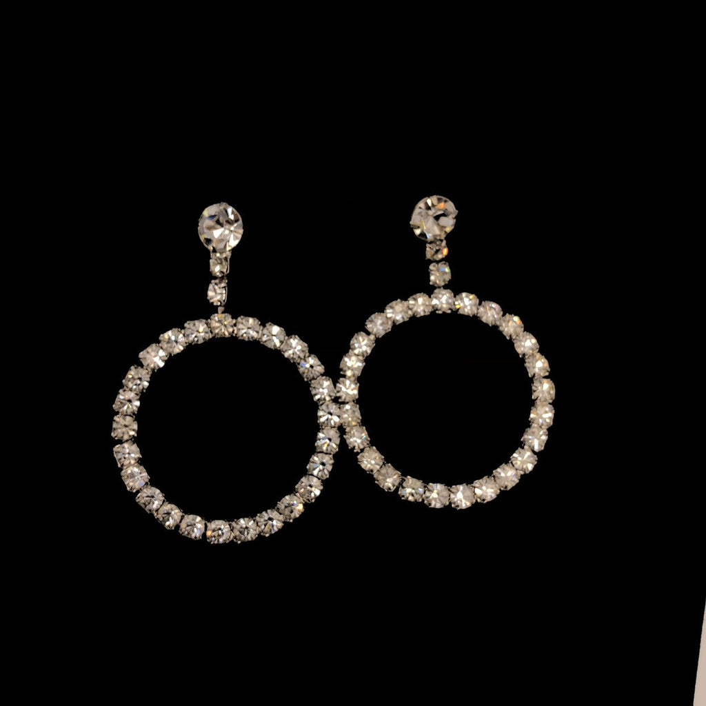 Statement Rhinestone Open Circle Dangle Vintage Earrings