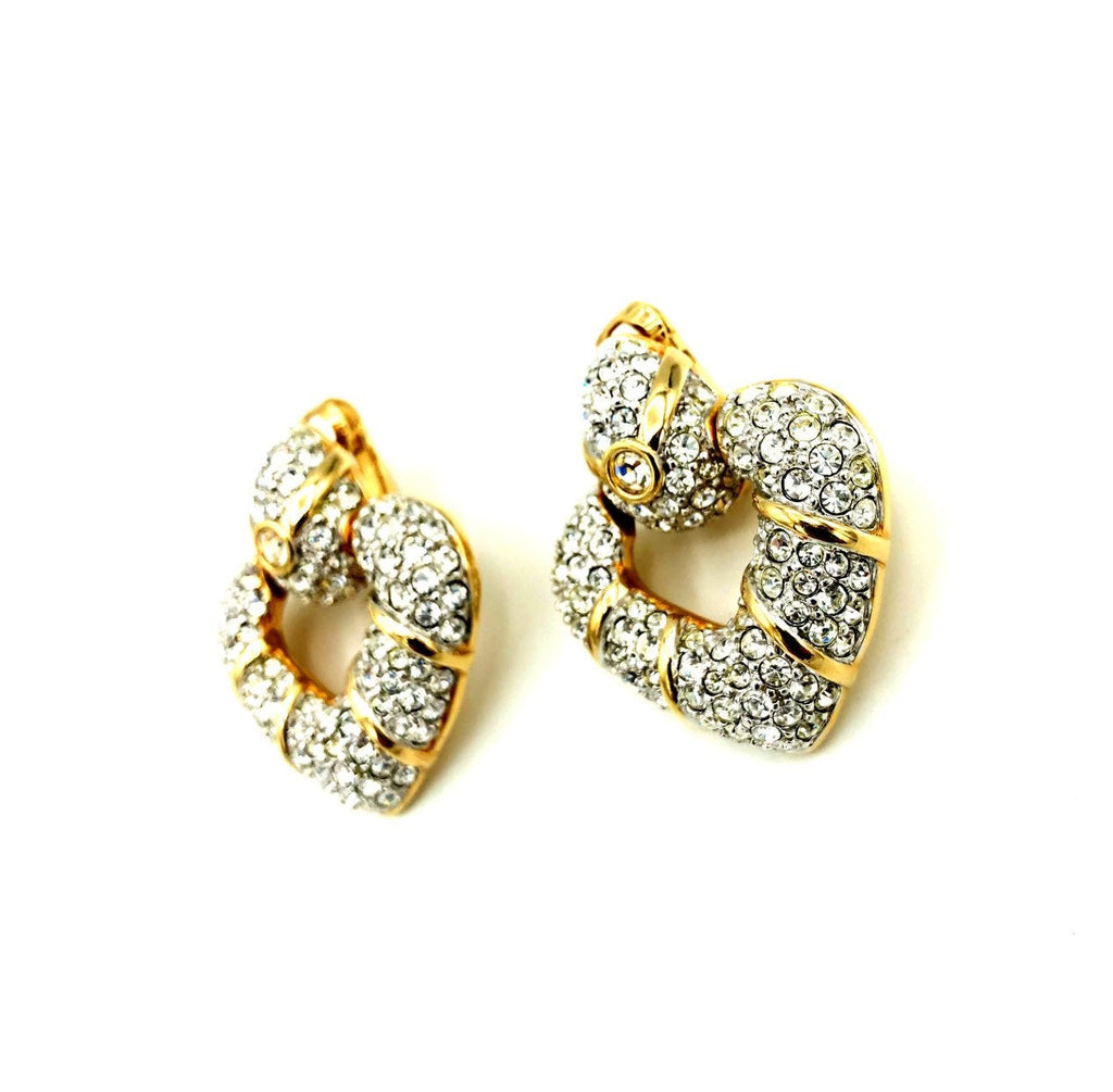 Gold Swarovski Clear Crystal Rhinestone Heart Door Knocker Earrings