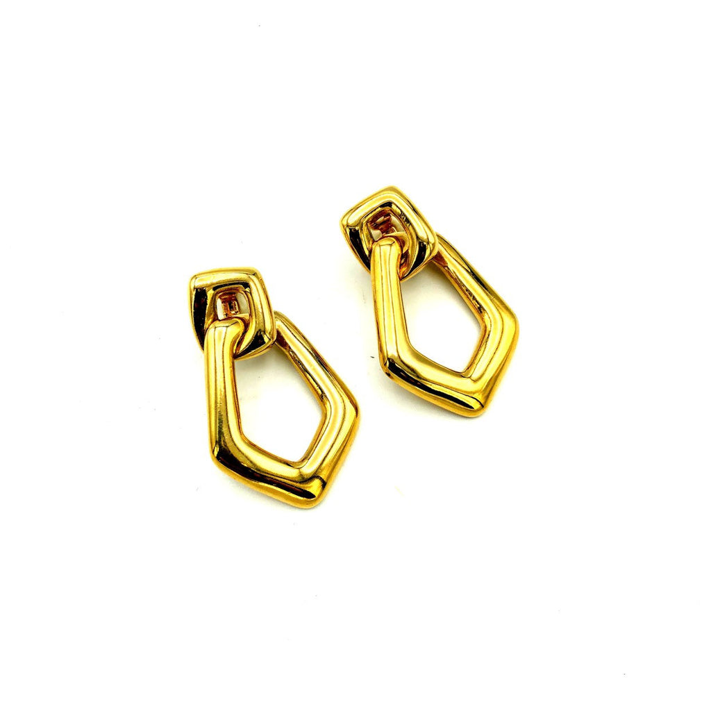 Givenchy Gold Geometric Dangle Vintage Earrings