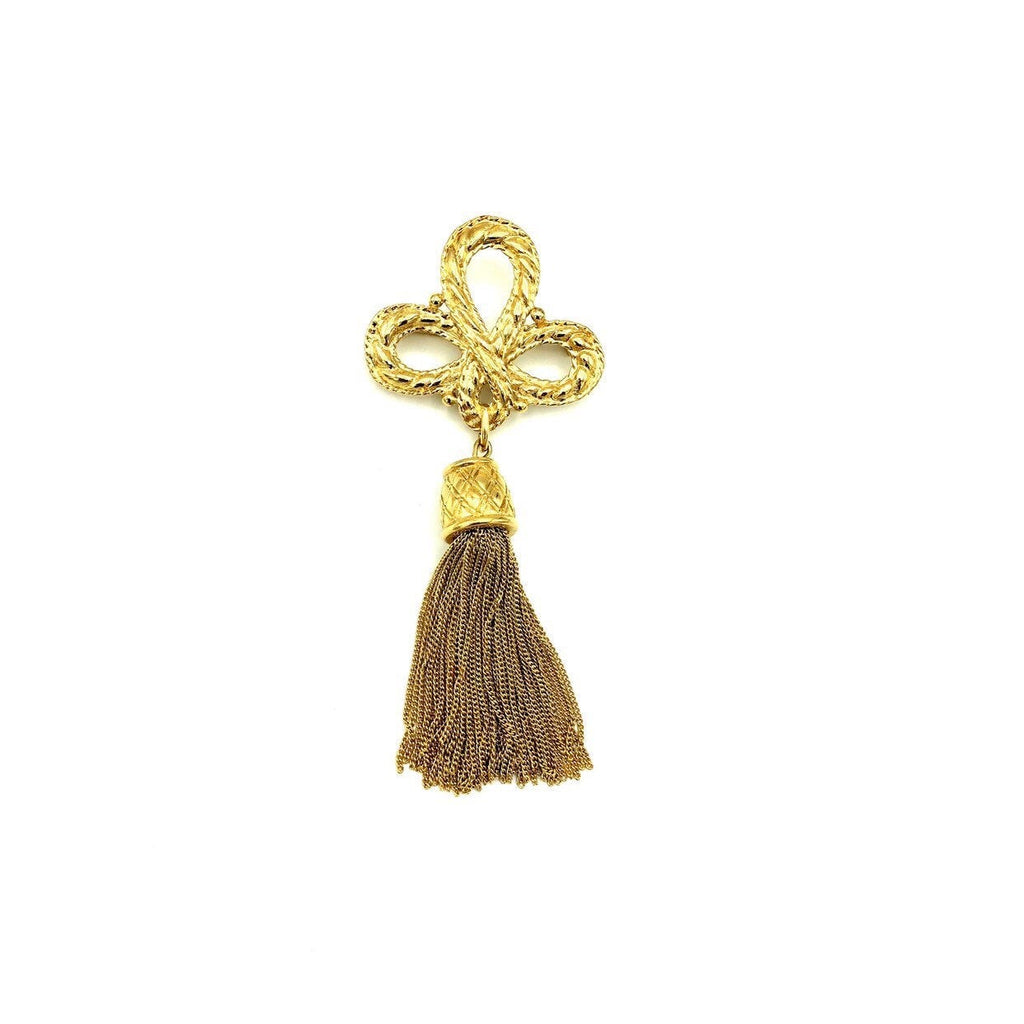 Givenchy Gold Logo Tassel Fringe Vintage Brooch-Brooches & Pins-Givenchy-[trending designer jewelry]-[givenchy jewelry]-[Sustainable Fashion]