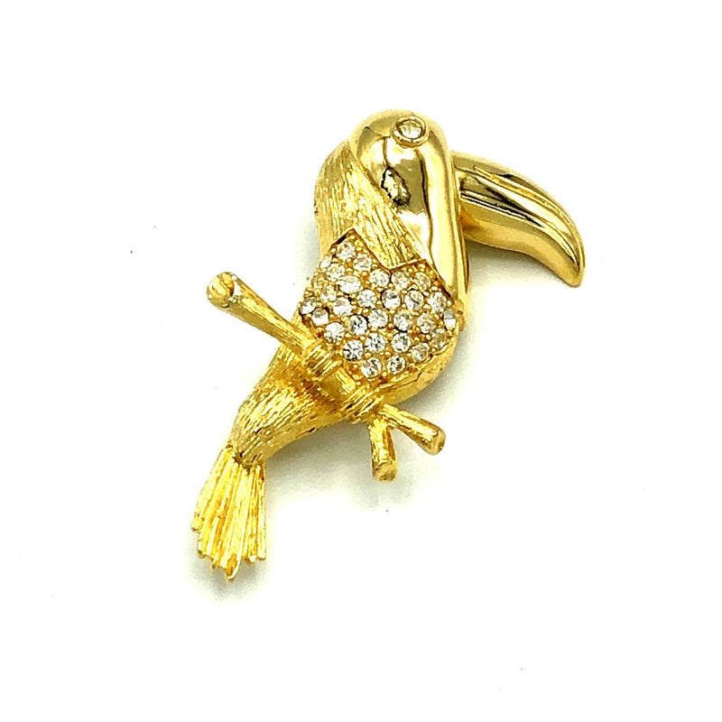 Givenchy Gold Toucan Bird Rhinestone Vintage Brooch-Brooches & Pins-Givenchy-[trending designer jewelry]-[givenchy jewelry]-[Sustainable Fashion]
