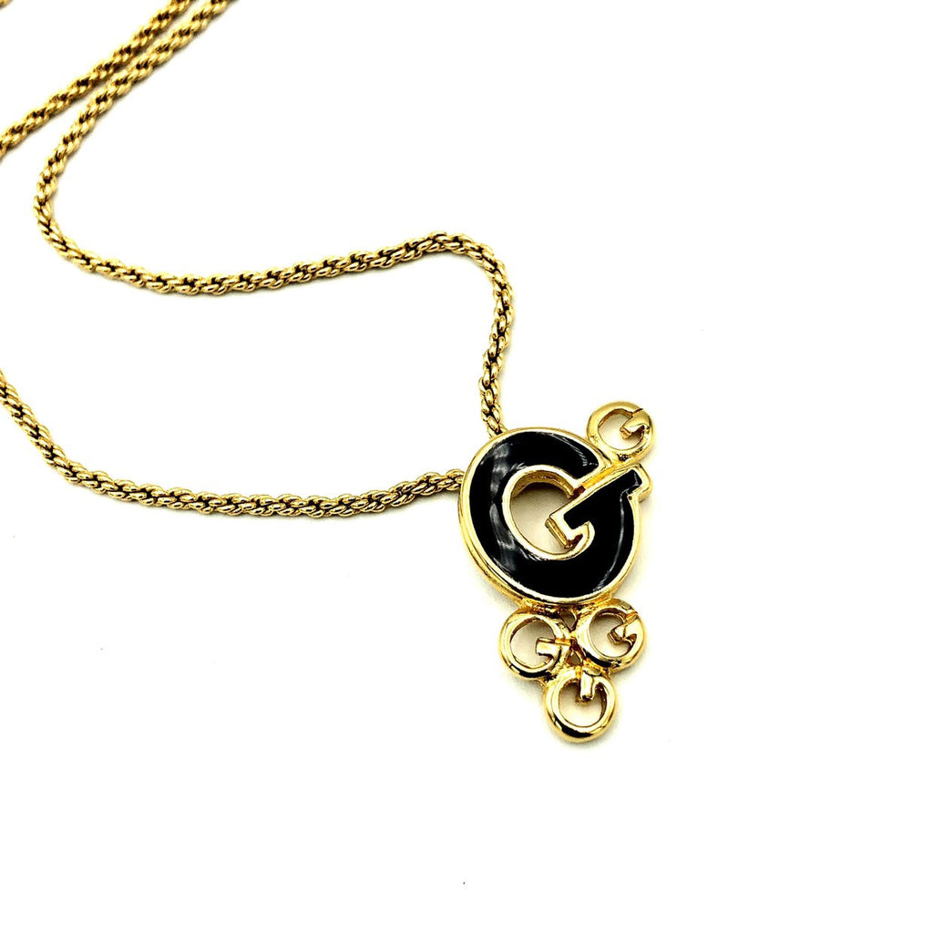 Givenchy Gold Classic Black Enamel 'G' Vintage Pendant-Necklaces & Pendants-Givenchy-[trending designer jewelry]-[givenchy jewelry]-[Sustainable Fashion]