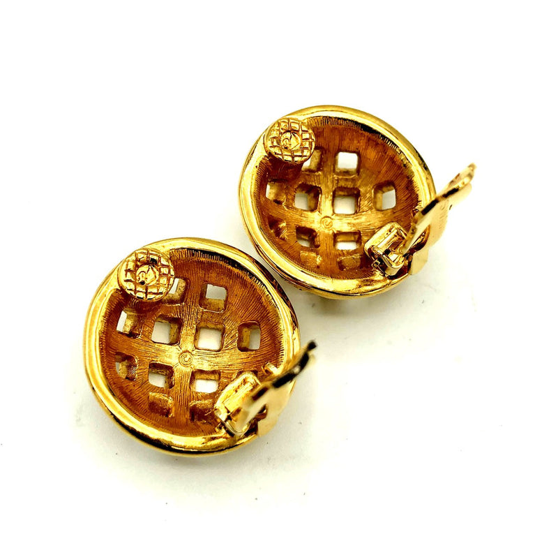 update alt-text with template Swarovski Gold Circle Basket Weave Vintage Earrings-Earrings-24 Wishes-[trending designer jewelry]-[swarovski jewelry]-[Sustainable Fashion]