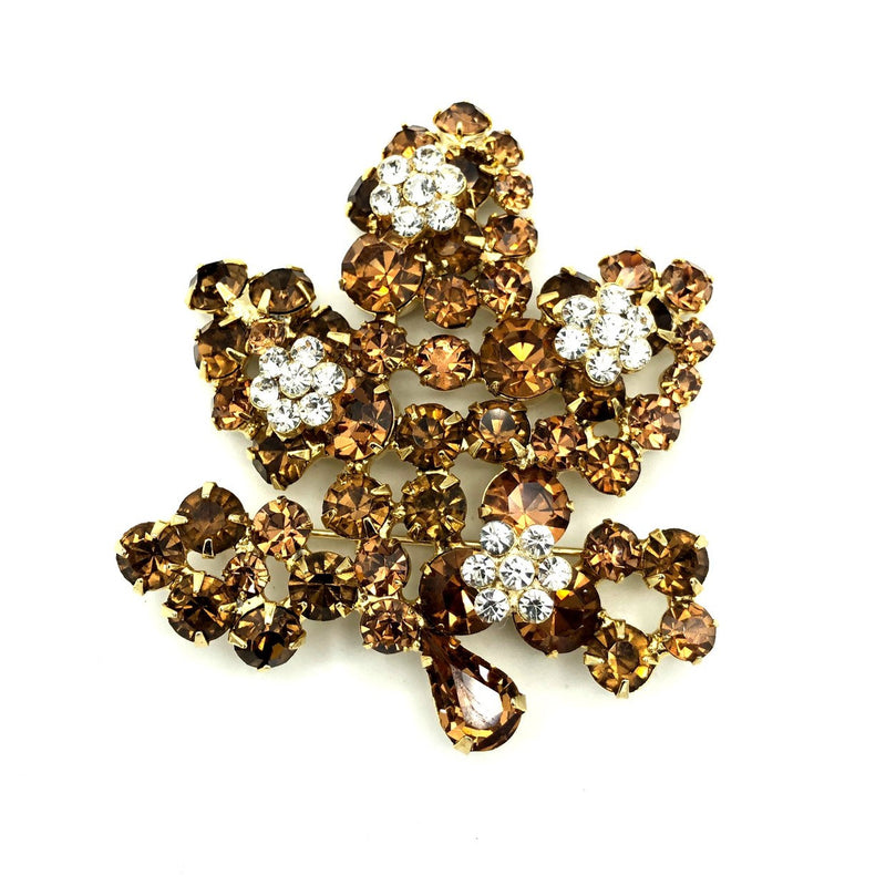 Weiss Large Topaz Brown Rhinestone Leaf Vintage Brooch-Sustainable Fashion with Vintage Style-Trending Designer Fashion-24 Wishes