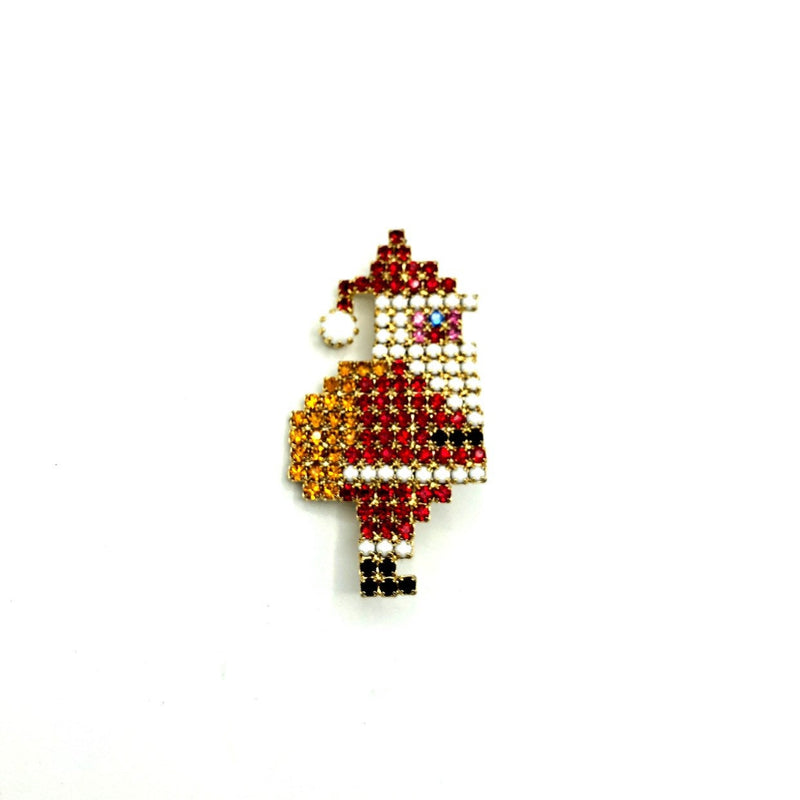 Vintage Rhinestone Santa Claus Brooch-Sustainable Fashion with Vintage Style-Trending Designer Fashion-24 Wishes