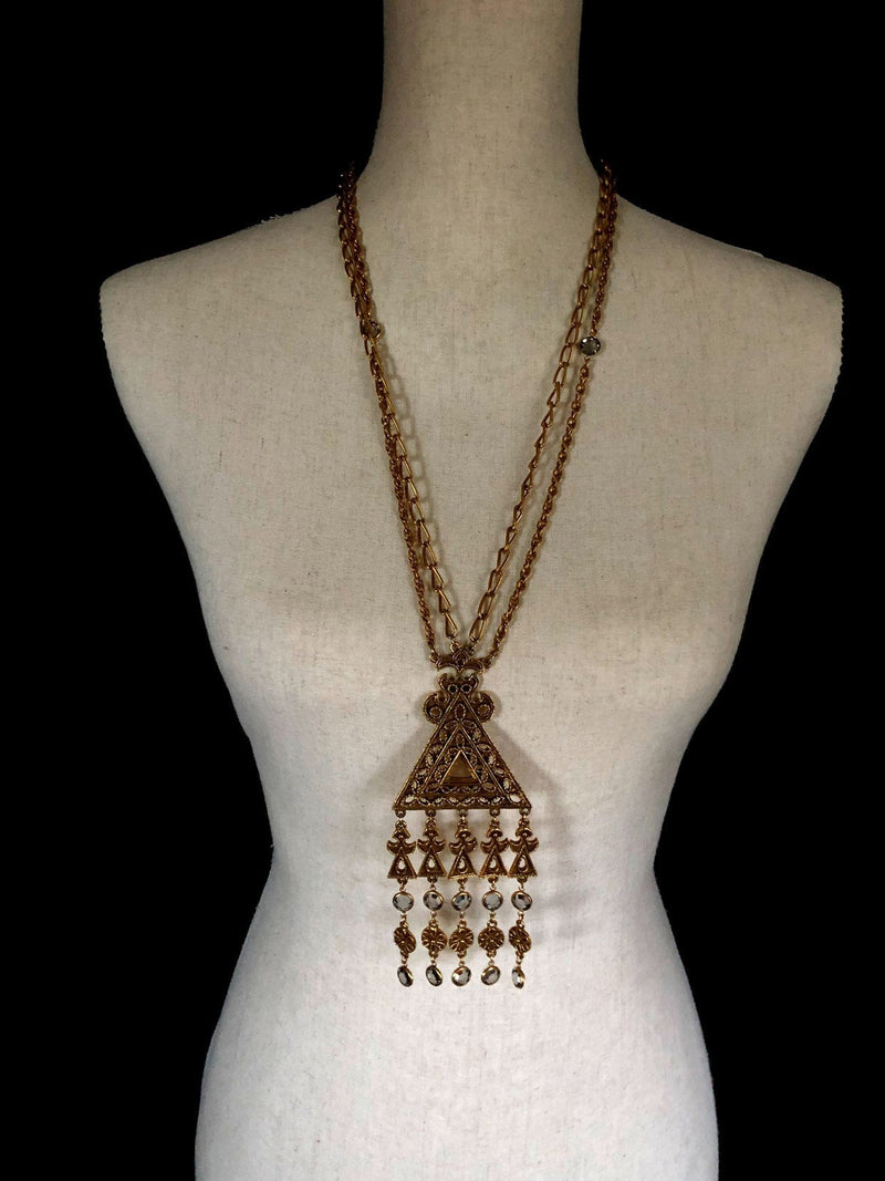 Vintage Etruscan Gold Waterfall Fringe Dangle endant-Necklaces & Pendants-24 Wishes