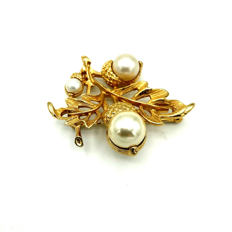 Avon Gold Leaf & Pearl Acorn Brooch or Pendant-Sustainable Fashion with Vintage Style-Trending Designer Fashion-24 Wishes