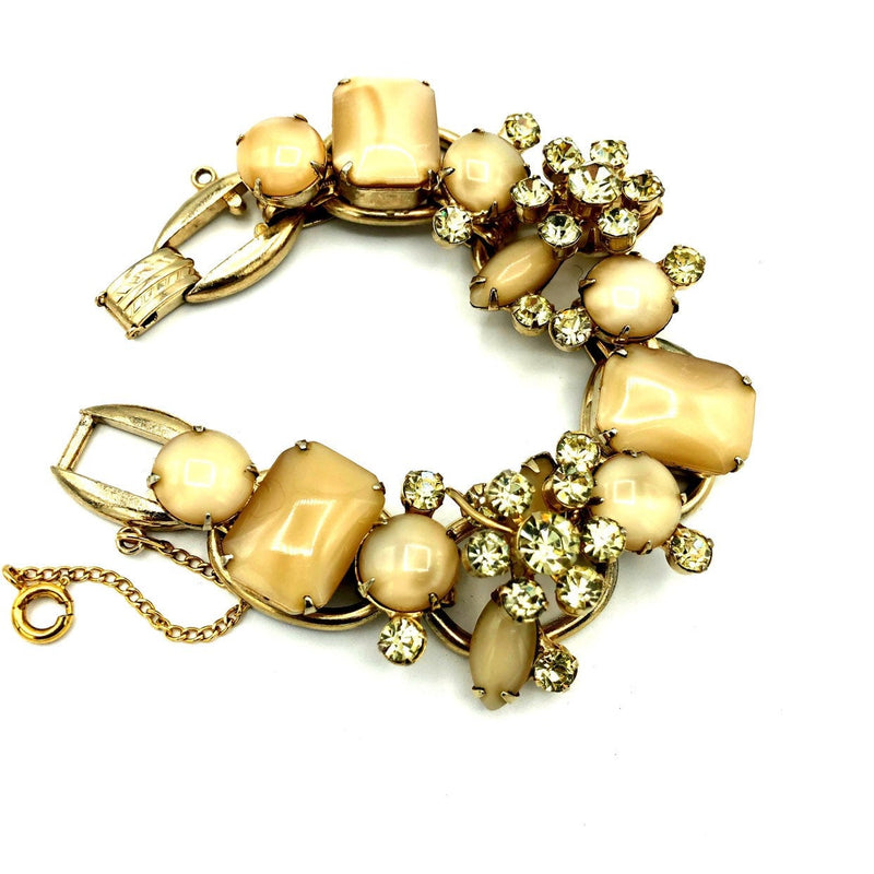 Juliana Delizza and Elster Art Stones & Green Rhinestone Statement Bracelet-Sustainable Fashion with Vintage Style-Trending Designer Fashion-24 Wishes