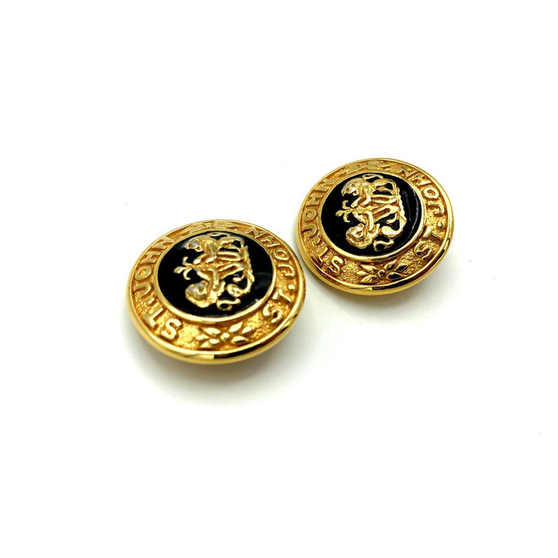 Gold St. John Round Logo Black Enamel Earrings