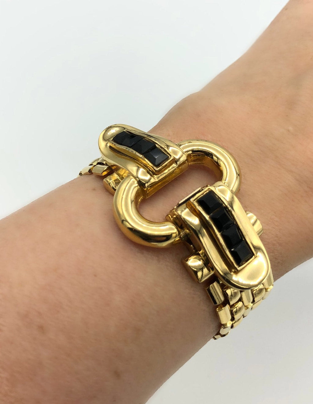 Givenchy Art Deco Style Gold Vintage Bracelet-Sustainable Fashion with Vintage Style-Trending Designer Fashion-24 Wishes