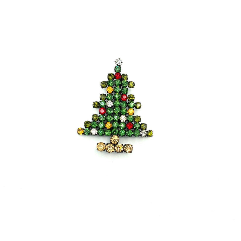 Austria Bright Crystal Rhinestone Christmas Tree Brooch-Sustainable Fashion with Vintage Style-Trending Designer Fashion-24 Wishes