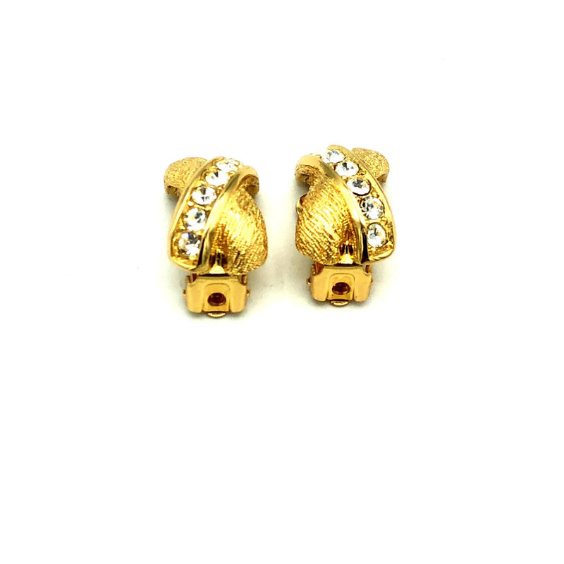 update alt-text with template Christian Dior X Rhinestone Vintage Clip-On Earrings-Earrings-Christian Dior-[trending designer jewelry]-[christian dior jewelry]-[Sustainable Fashion]