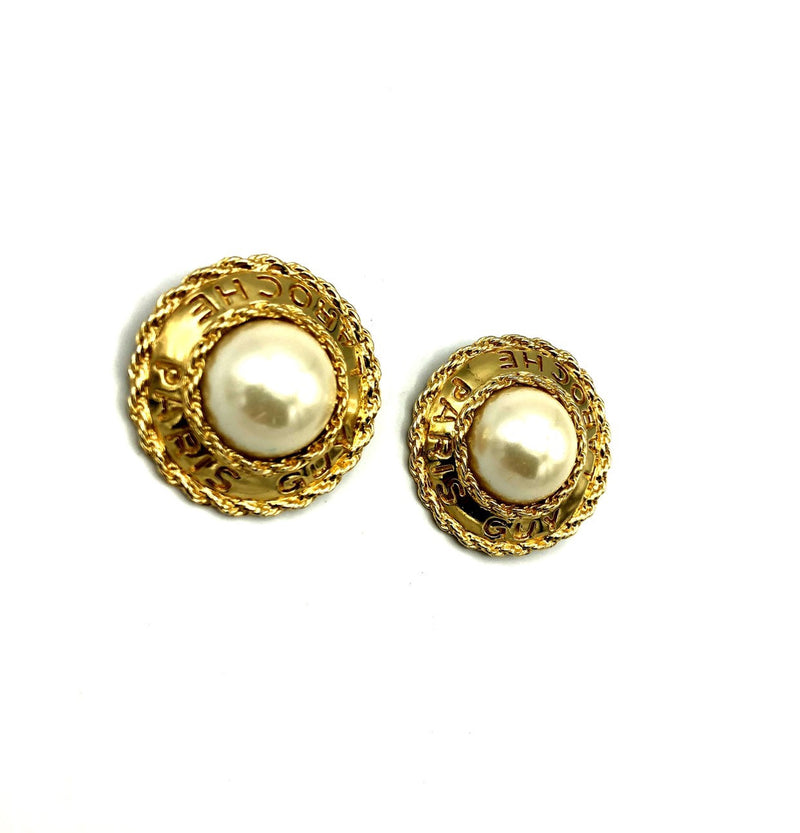Guy Laroche Classic Gold & Pearl Earrings