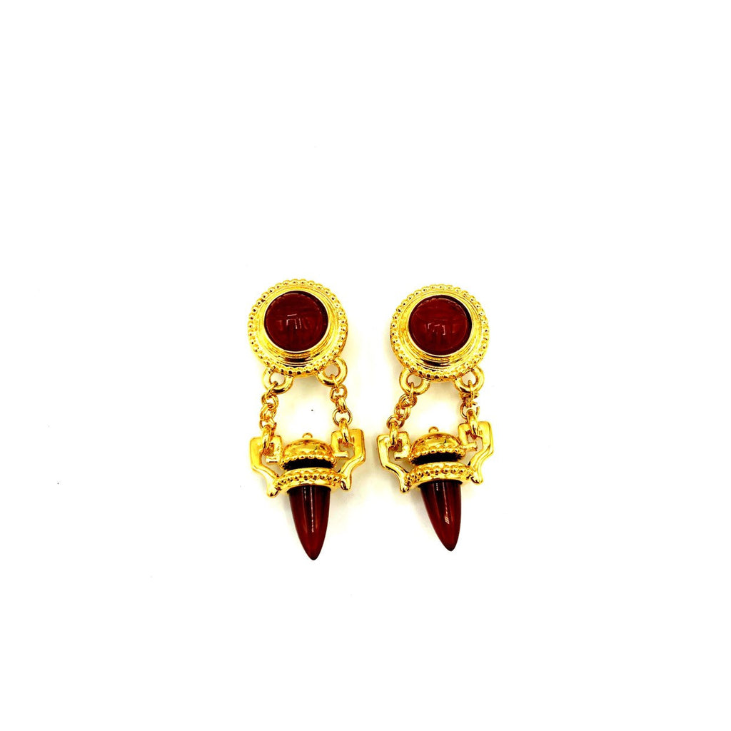 Kenneth Jay Lane Egyptian Gold Orange Carnelian Scarab Vintage Earrings-Sustainable Fashion with Vintage Style-Trending Designer Fashion-24 Wishes