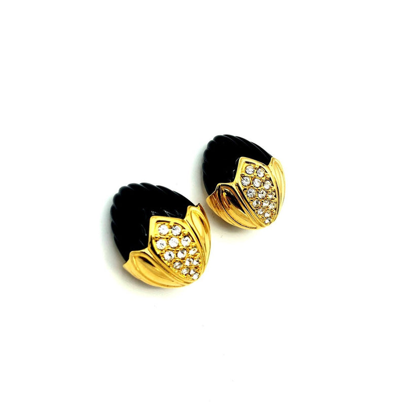 update alt-text with template Joan Rivers Gold Rhinestone Black Floral Vintage Earrings-Earrings-Joan Rivers-[trending designer jewelry]-[joan rivers jewelry]-[Sustainable Fashion]