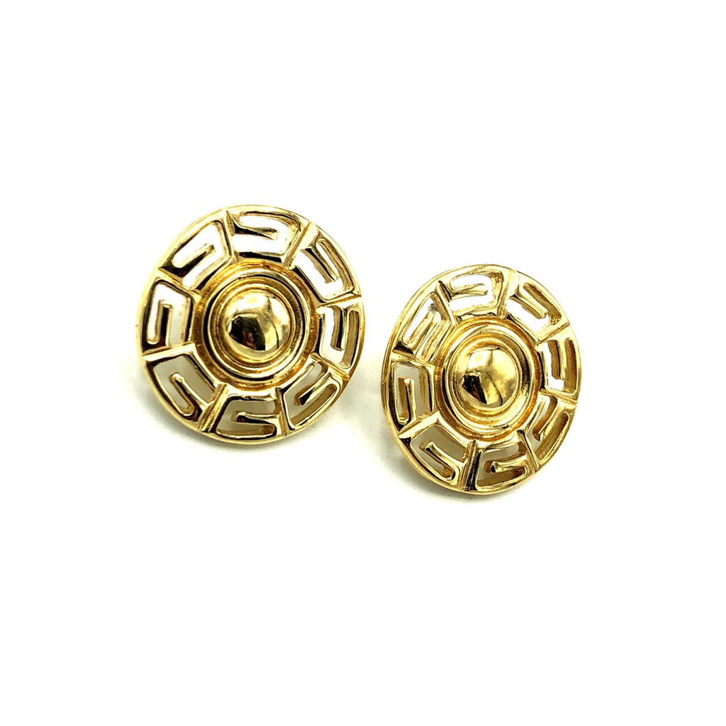 Givenchy Gold Logo Gold Disk Pierced Earrings-Sustainable Fashion with Vintage Style-Trending Designer Fashion-24 Wishes