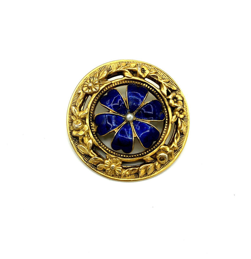 Victorian Revival Blue Enamel Flower Brooch by Freirich-Sustainable Fashion with Vintage Style-Trending Designer Fashion-24 Wishes