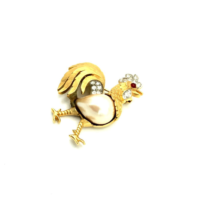 Trafari Rooster Faux Pearl Ruby Red Cabochon Eye Vintage Brooch-Sustainable Fashion with Vintage Style-Trending Designer Fashion-24 Wishes