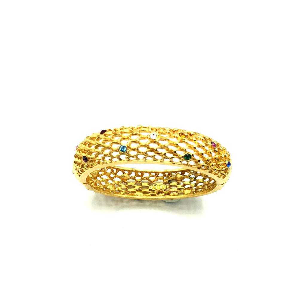Gold Filigree Style Hinged Bangle Jacqueline Kennedy JBK Bracelet
