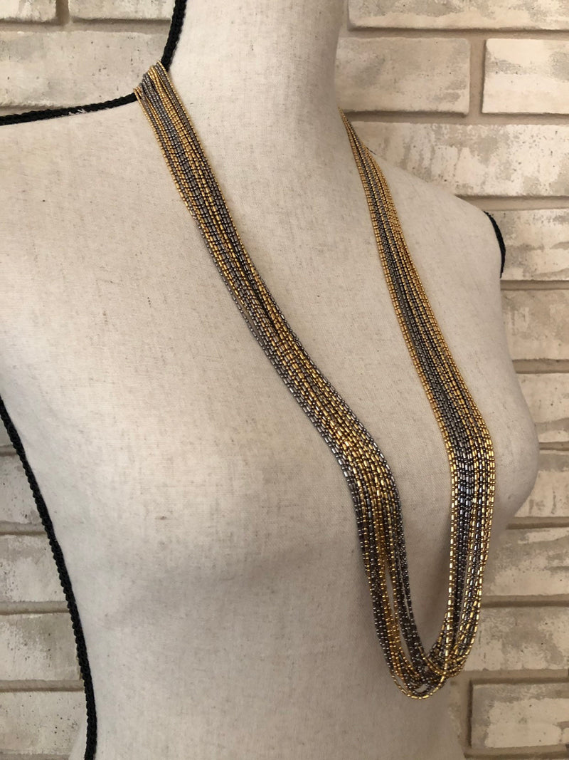 update alt-text with template Christian Dior Multi-Strand Gunmetal & Gold Chain Long Necklace-Necklaces & Pendants-Christian Dior-[trending designer jewelry]-[christian dior jewelry]-[Sustainable Fashion]