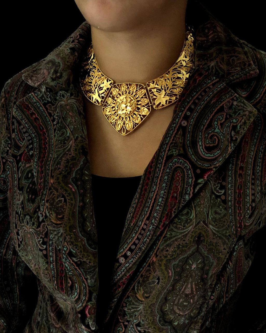 Jose Maria Barrera Gold Filigree Style Bib Statement Pendant