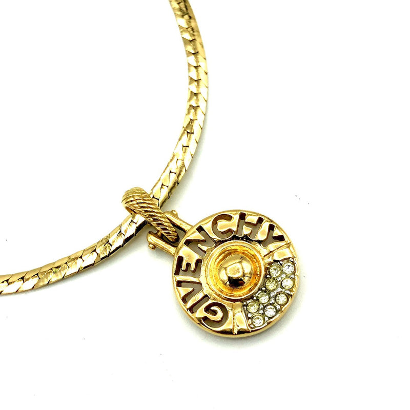 Givenchy Gold Classic Logo Medallion Vintage Pendant-Necklaces & Pendants-Givenchy-[trending designer jewelry]-[givenchy jewelry]-[Sustainable Fashion]